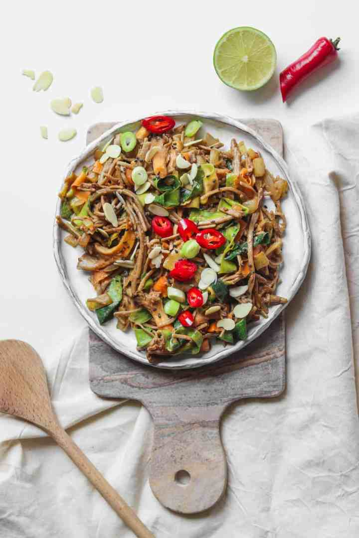 Miso tahini soba noodles with oyster mushrooms, carrots and zucchini
