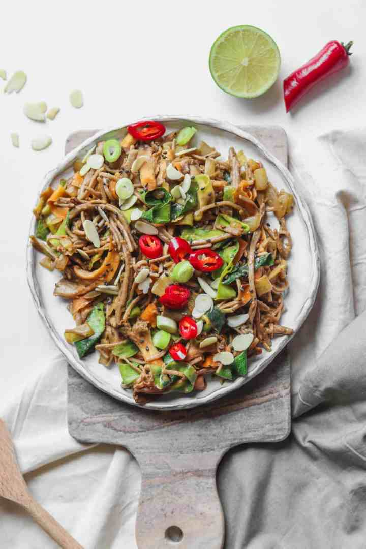Miso tahini soba noodle stir-fry with oyster mushrooms recipe