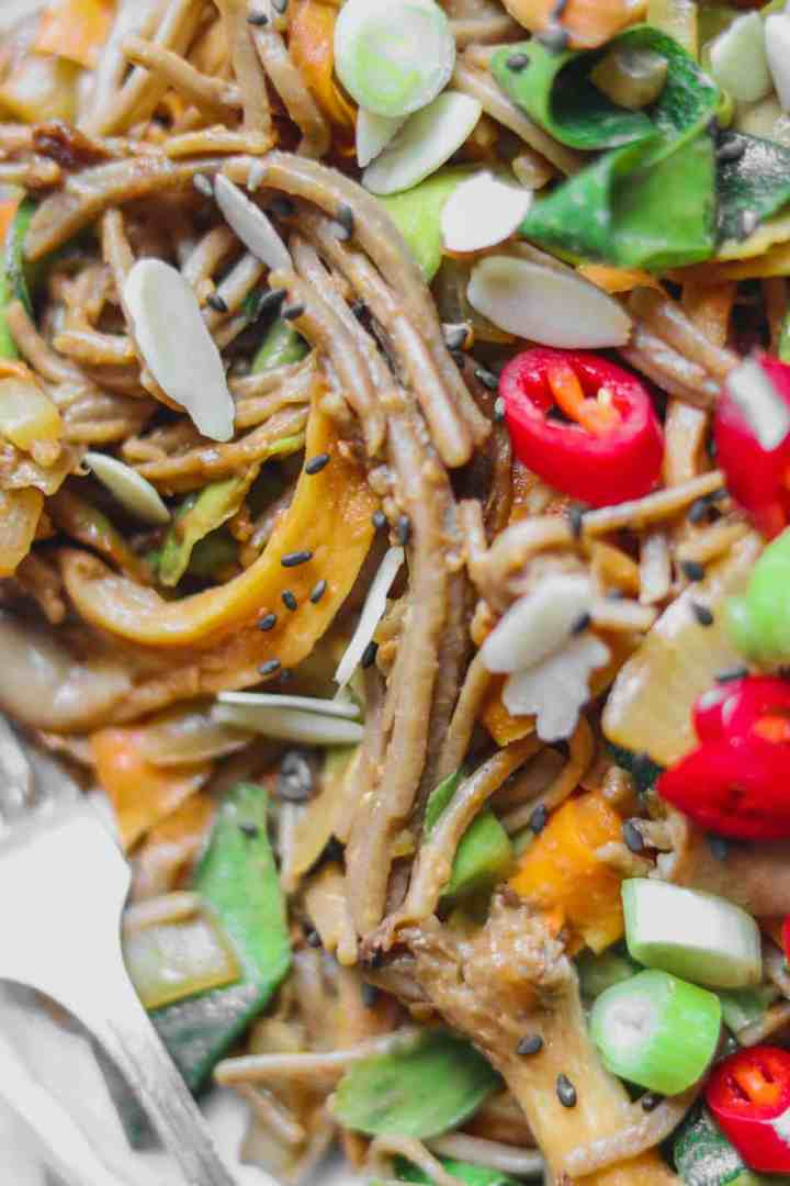 Closeup of soba noodles with carrots and oyster mushrooms