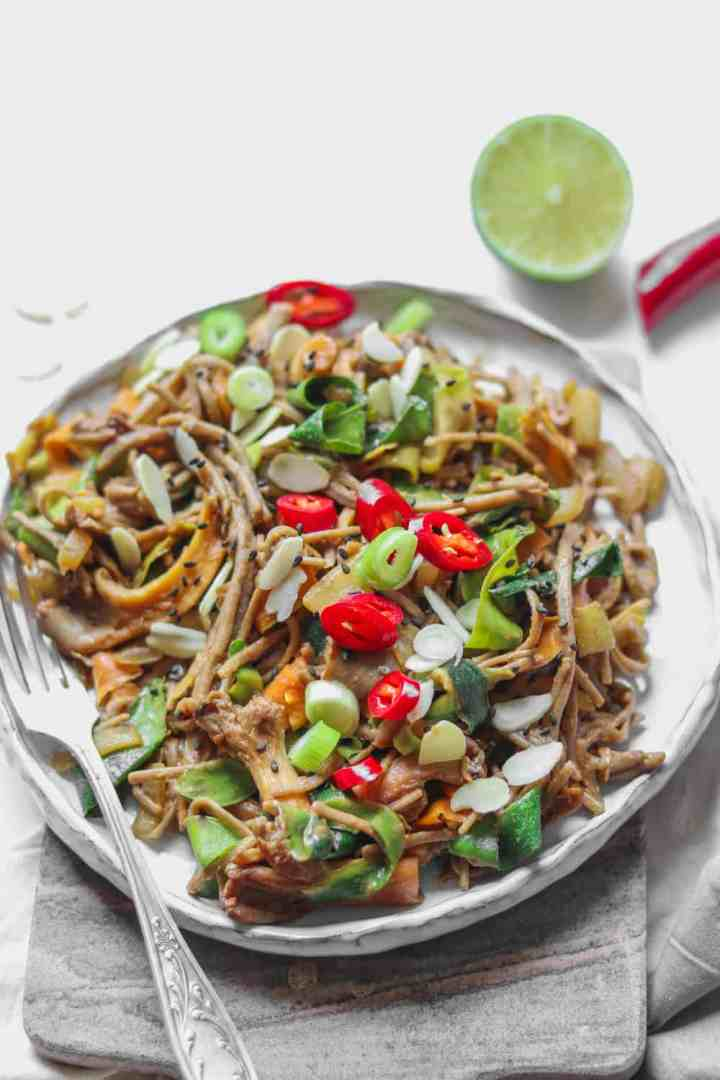 Soba noodle stir-fry with oyster mushrooms, carrots and zucchini