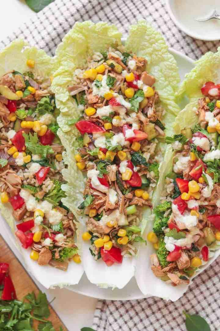 Jackfruit and brown rice vegan lettuce wraps
