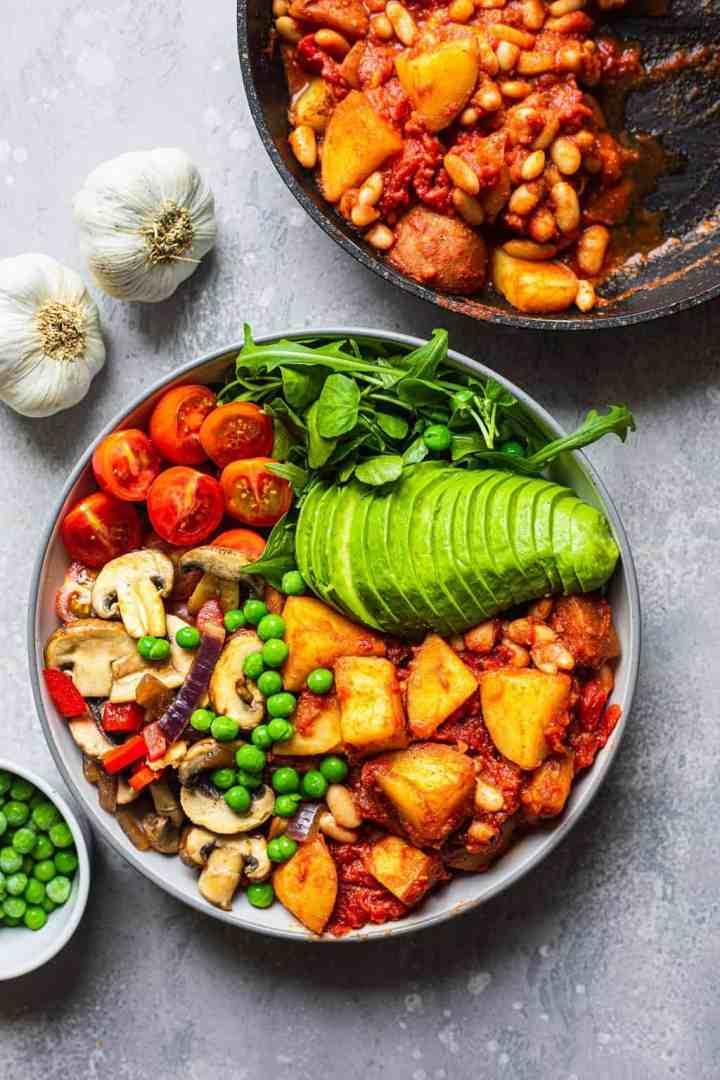 White bean vegan skillet potatoes with garlic mushrooms