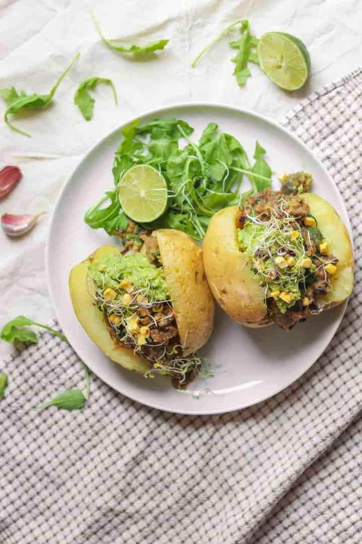 Easy jacket potatoes with a high protein lentil filling that are great for lunchboxes
