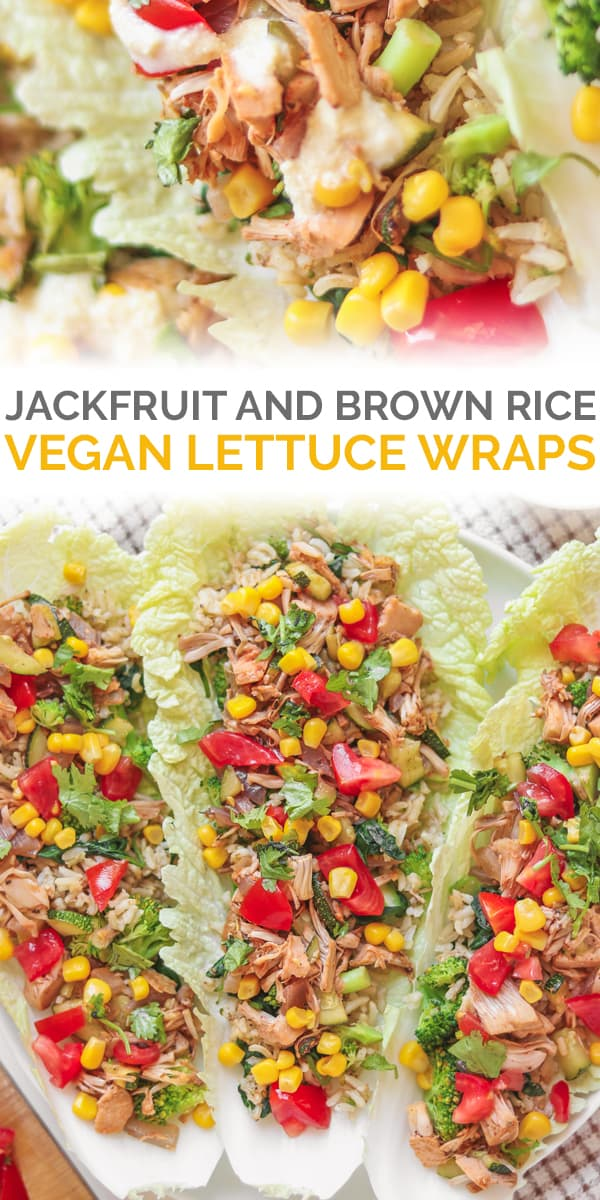 Jackfruit and brown rice vegan lettuce wraps Pinterest