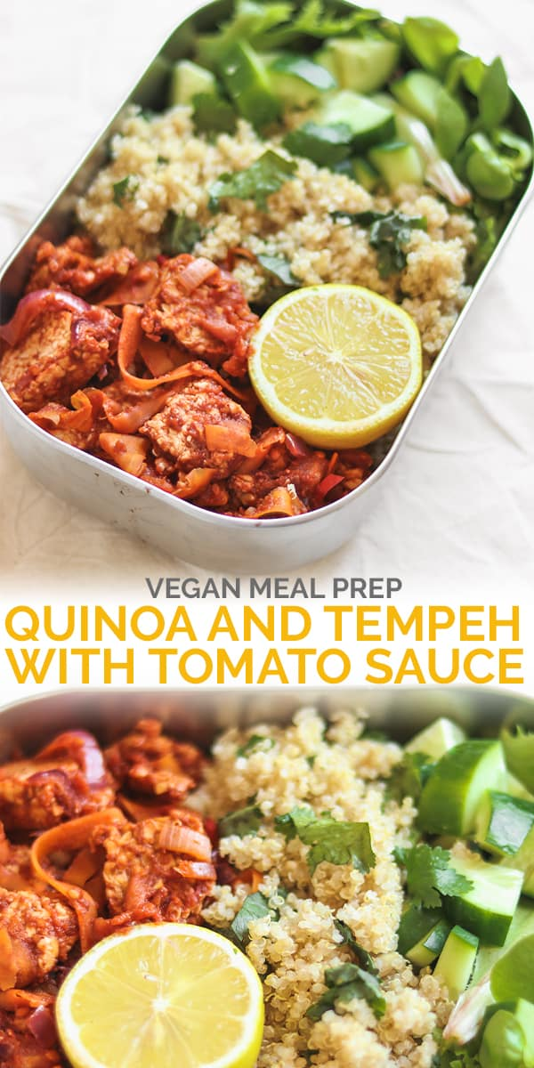 Quinoa and tempeh with tomato sauce meal prep Pinterest image
