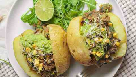 Simple Baked Potatoes With A One Pot Lentil Filling