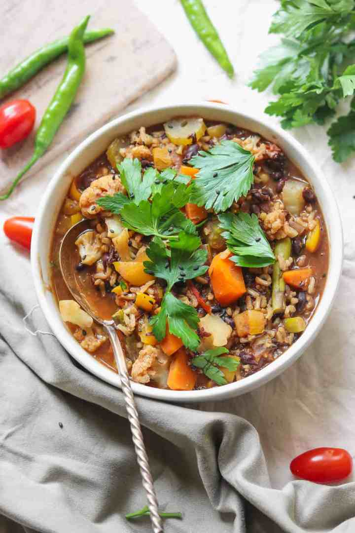 vegan rice and black bean soup with lots of vegetables
