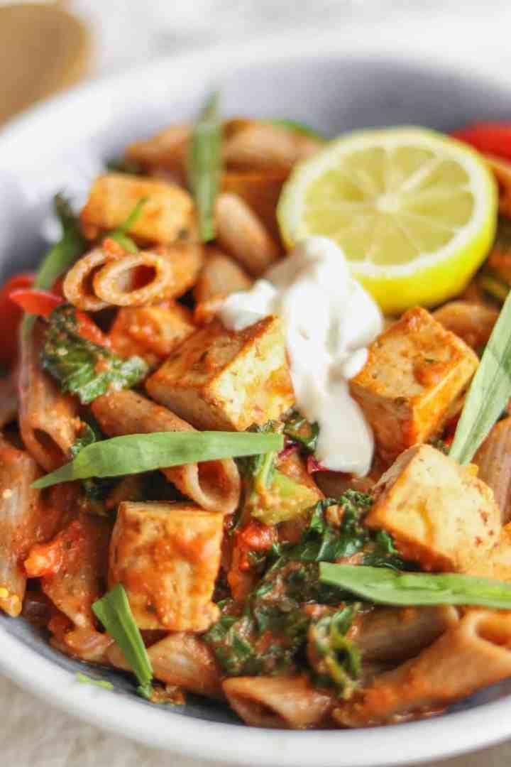Vegan tomato sauce pasta with tofu