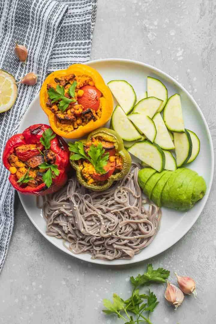 Vegan stuffed peppers with tofu and mushrooms
