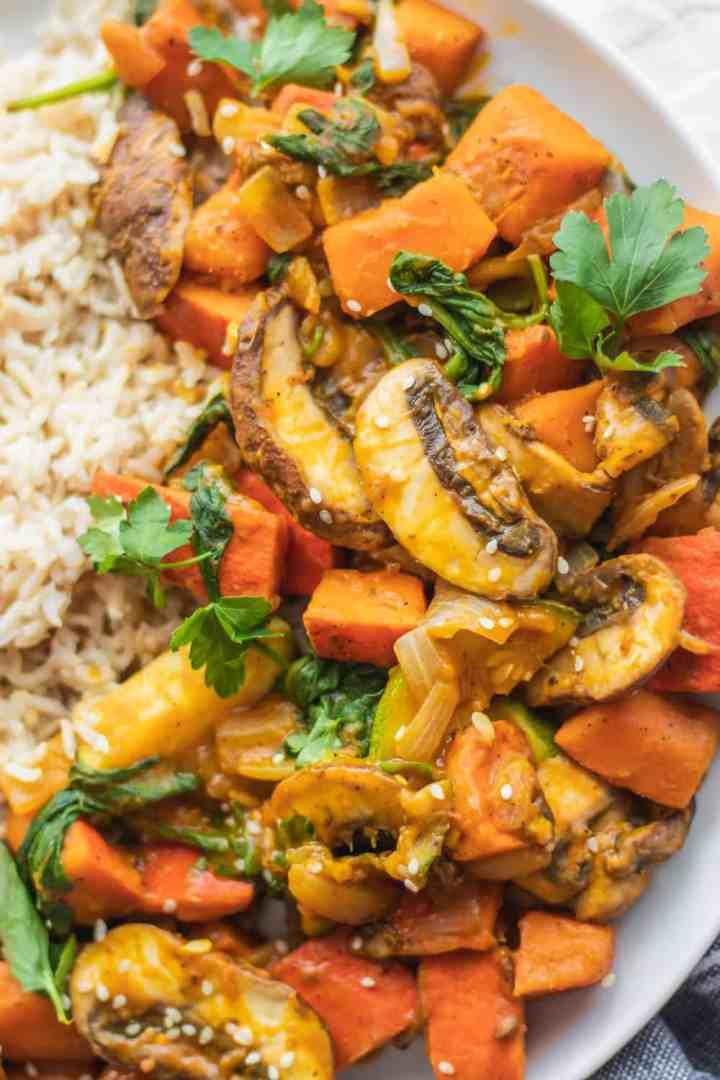 Gluten-free vegan pumpkin stir-fry with seasonal vegetables