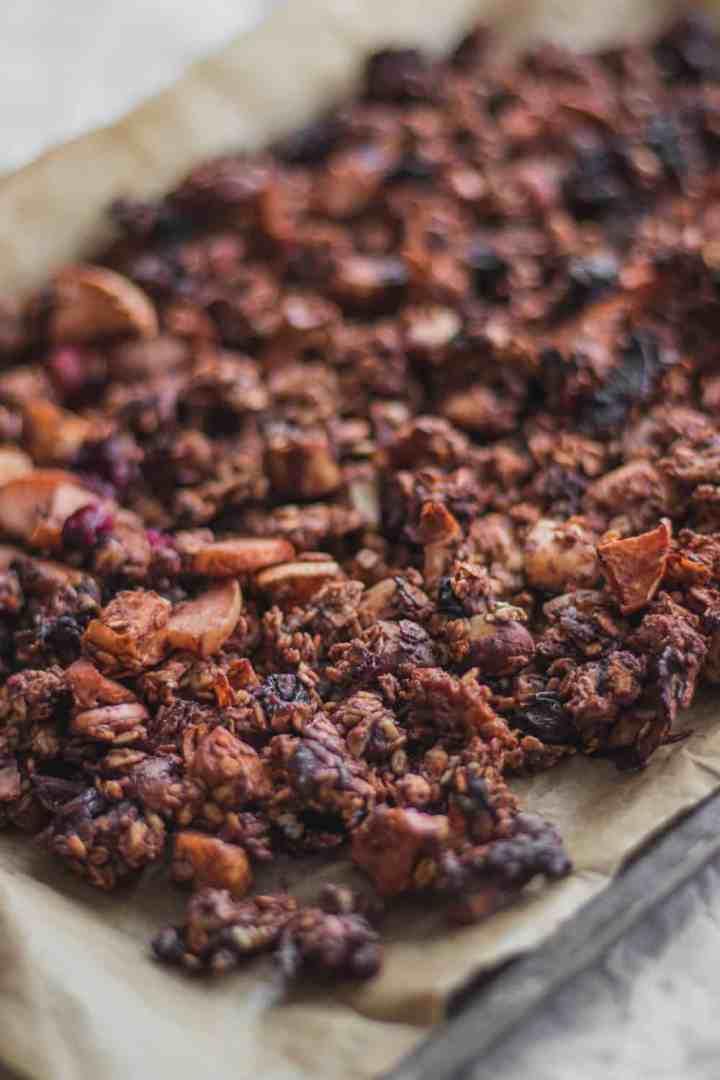 Tahini and coconut vegan chocolate granola