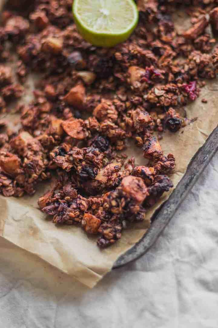 Coconut and tahini gluten-free vegan chocolate granola