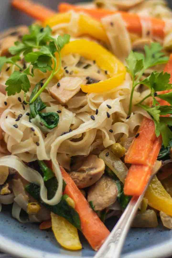 Coconut mushroom stir-fry with vegetables vegan and gluten-free