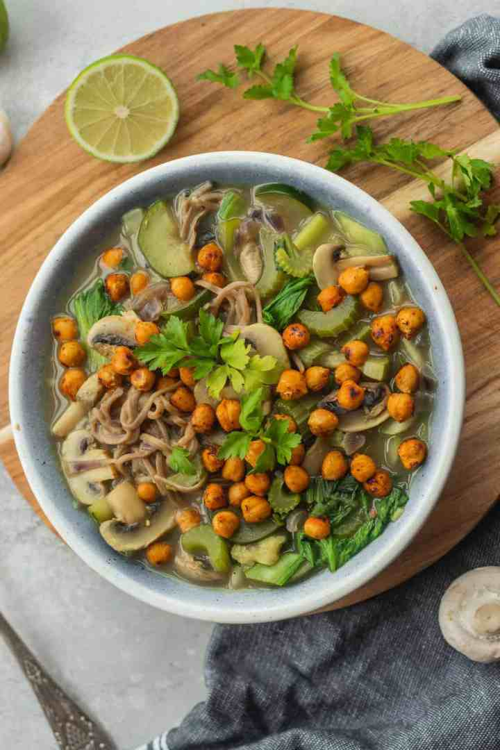 Gluten-free vegan noodle soup with chickpeas and vegetables