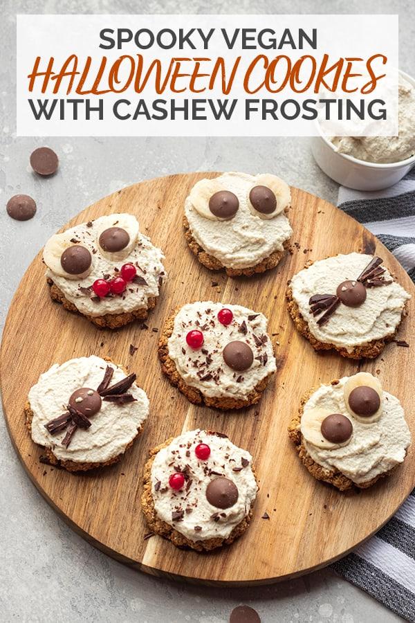Spooky vegan Halloween cookies with cashew frosting