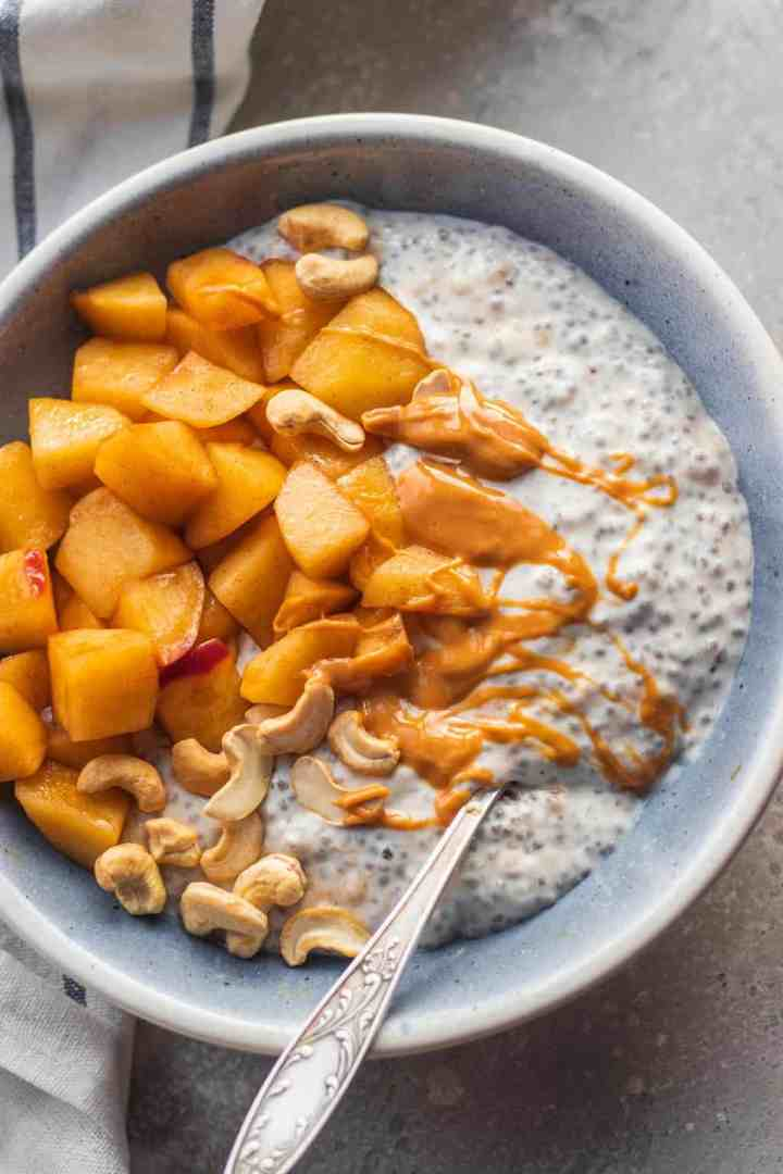 Vegan coconut chia pudding with apples and peanut butter