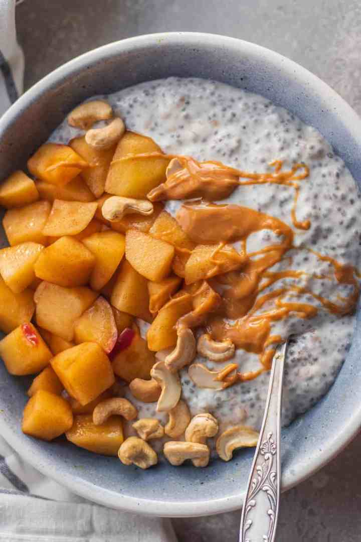 Vegan chia pudding with stovetop apples