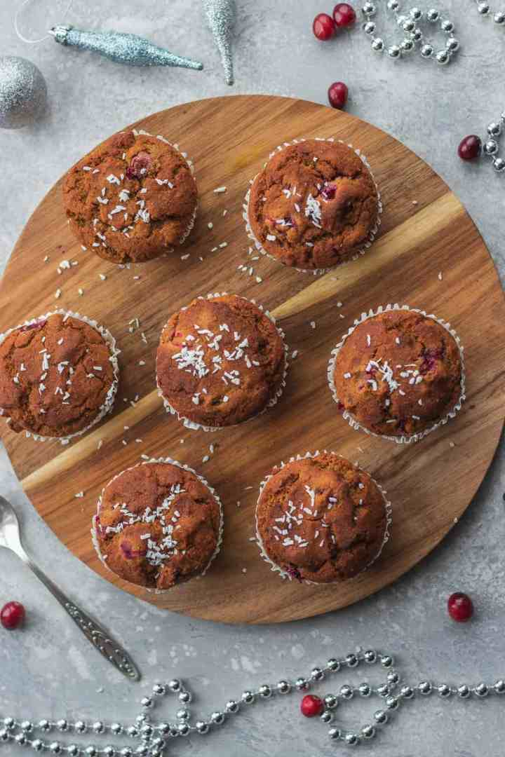 Vegan cranberry orange muffins