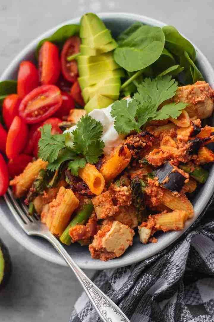 Vegan pasta bake with tofu and vegetables