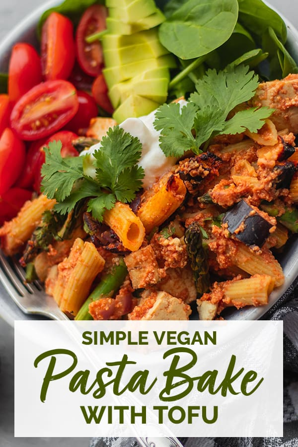 Simple vegan pasta bake with tofu Pinterest