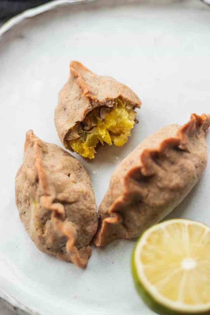 Gluten-free vegan piroshki recipe with mushrooms and potatoes