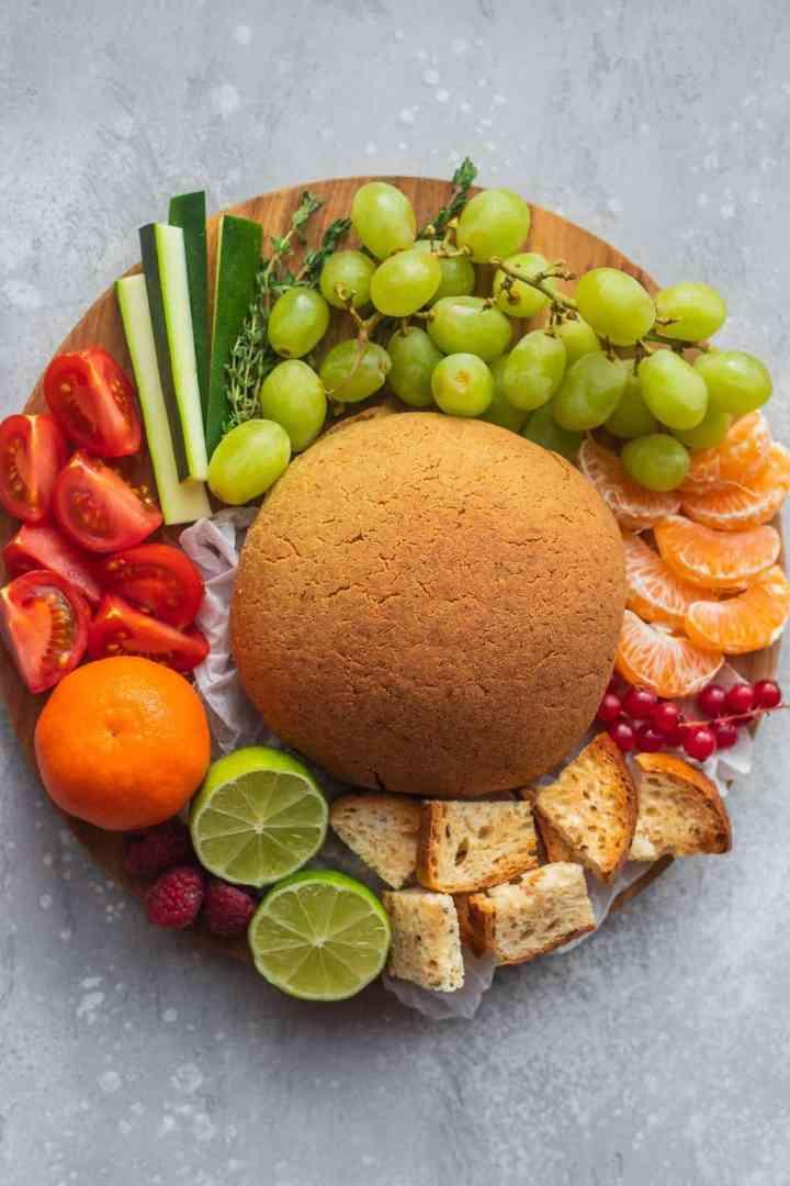 Baked vegan cashew cheese platter