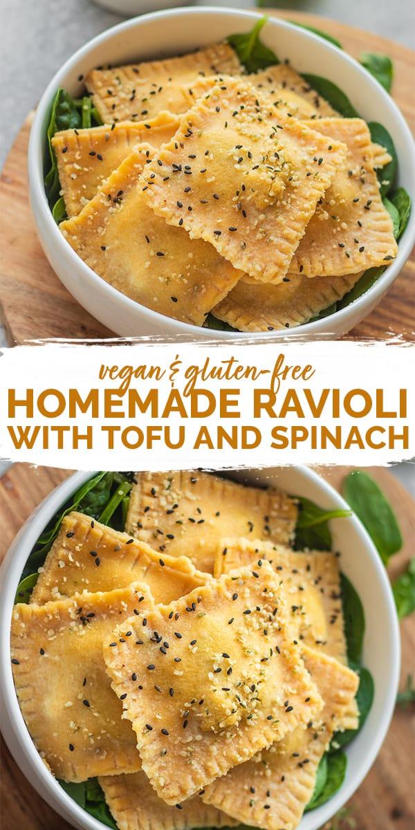 Homemade vegan ravioli with tofu and spinach gluten-free