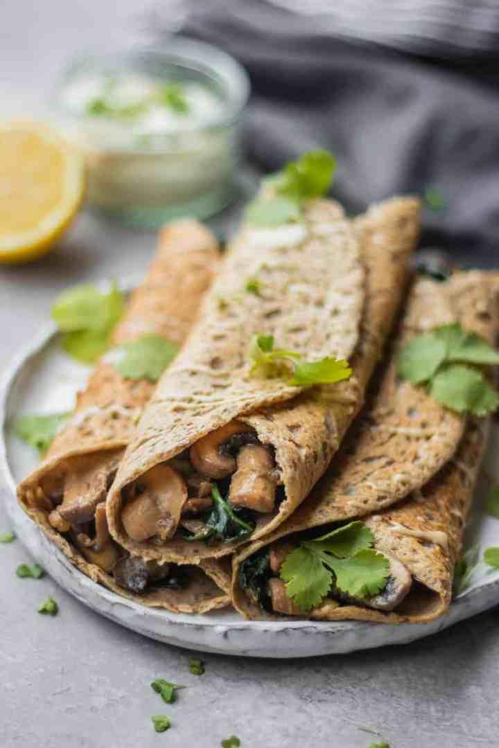 Gluten-free savoury crepes with buckwheat flour