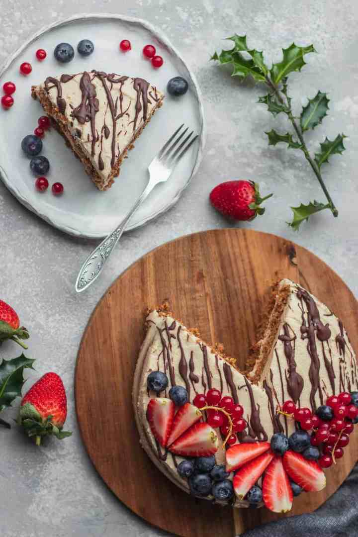 Gluten-free vegan gingerbread cake with coconut frosting