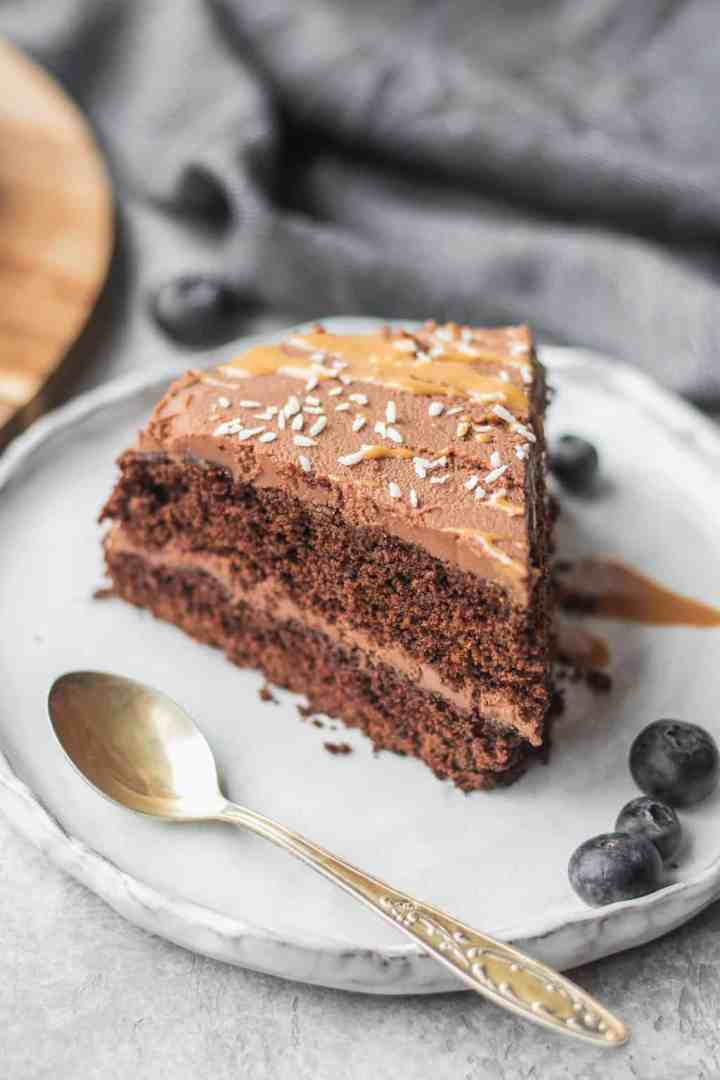 Gluten-free vegan chocolate cake on a plate