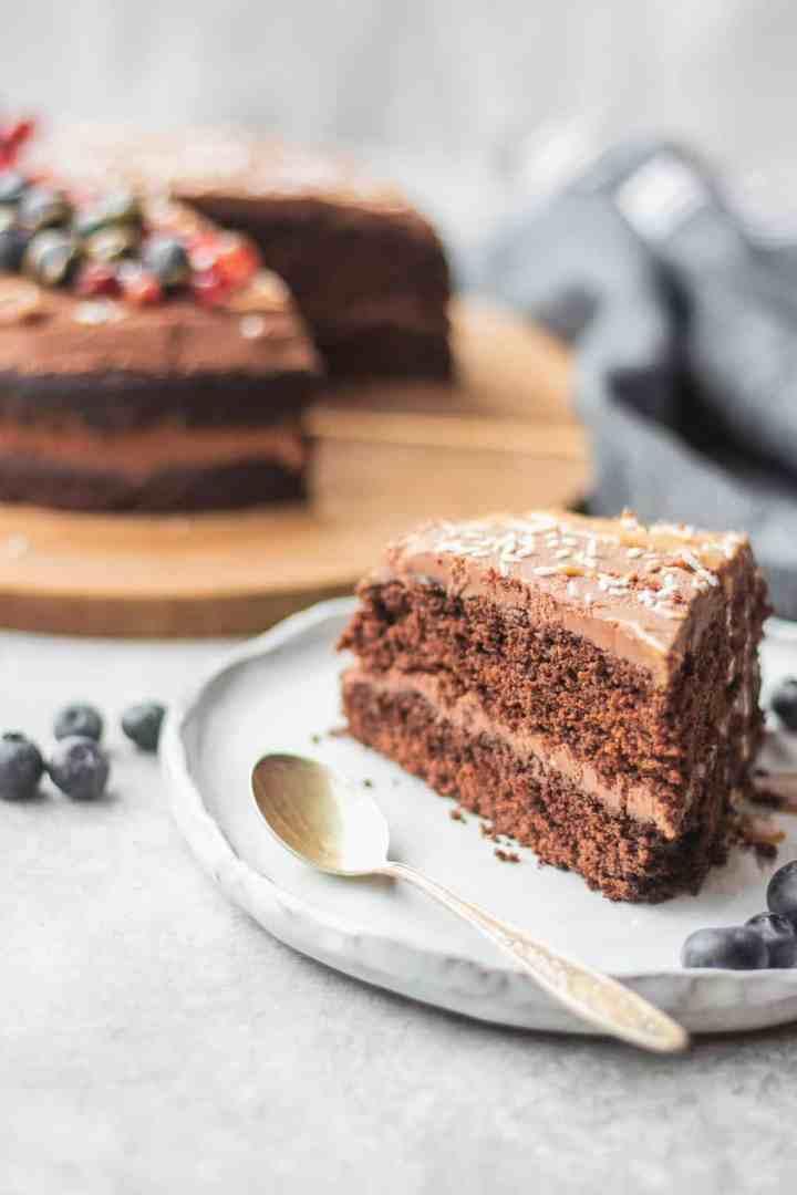 Gluten-free vegan chocolate cake with peanut butter