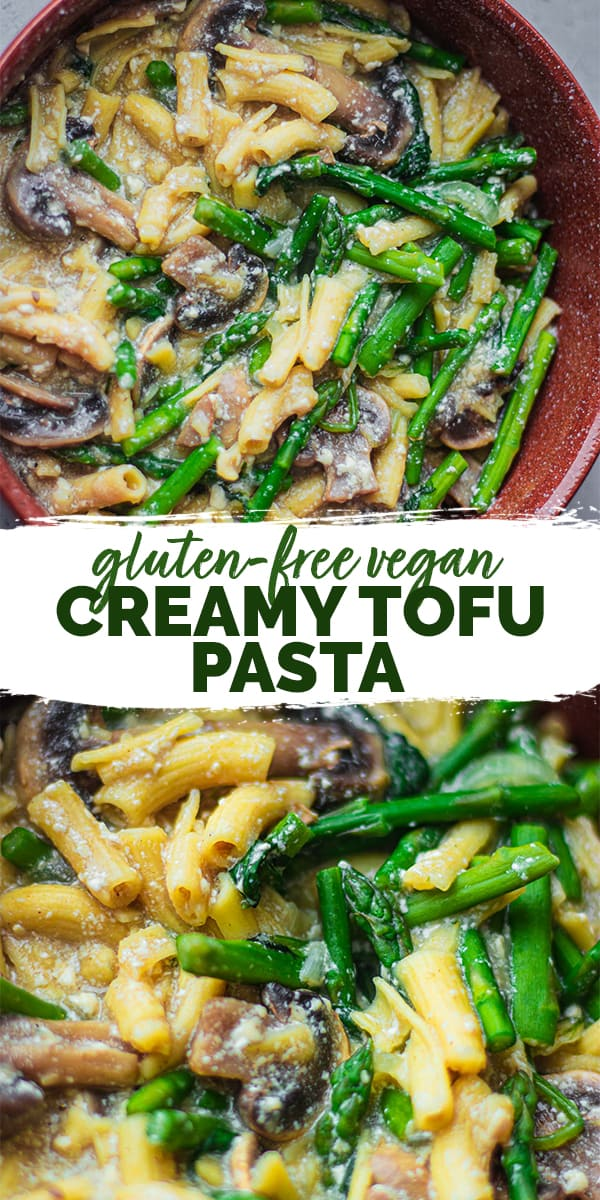 Gluten-free vegan creamy tofu pasta