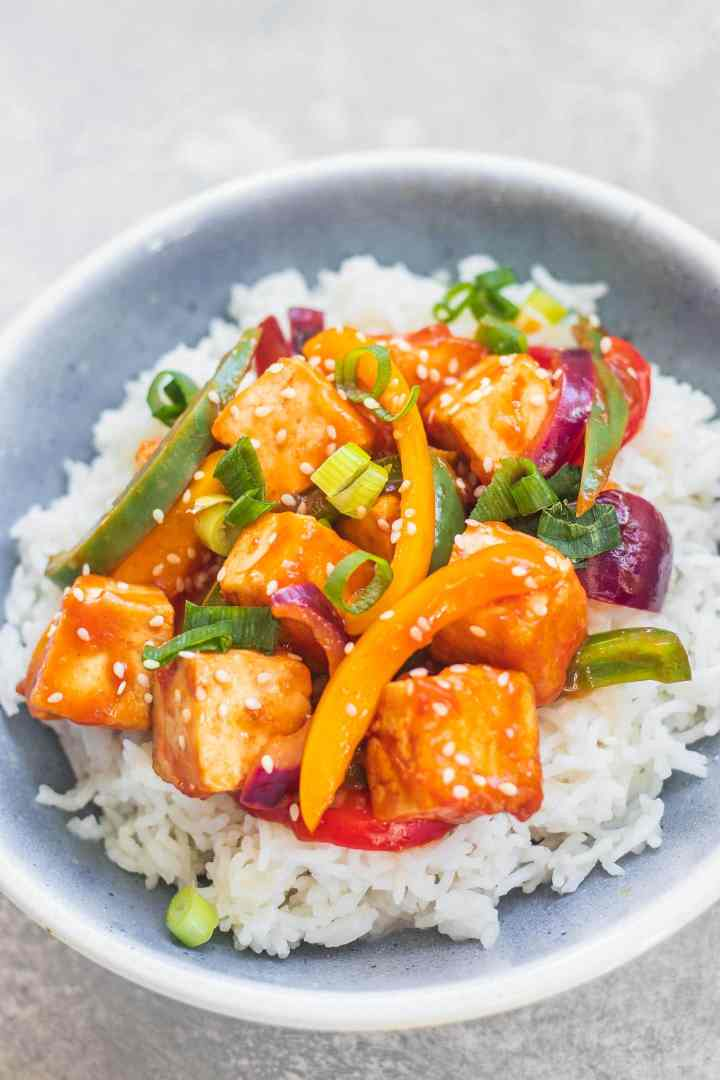 Tofu with sweet and sour sauce gluten-free
