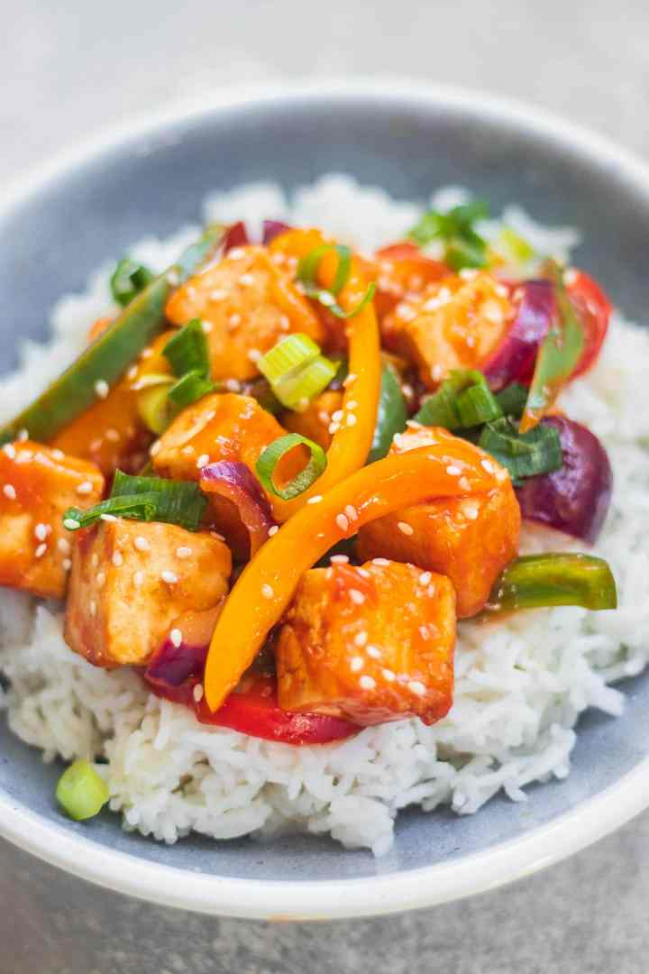 Sweet and sour tofu vegan gluten-free