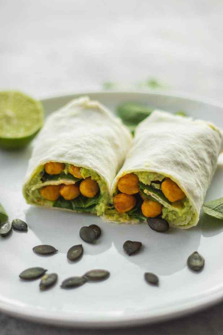 Vegan avocado wrap with chickpeas