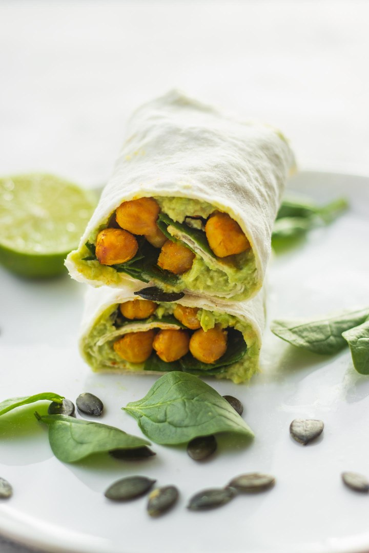 Vegan avocado wrap with chickpeas