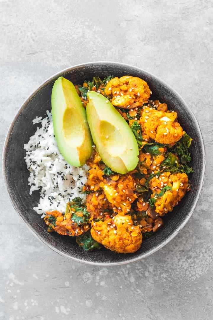 Vegan red lentil cauliflower Dahl