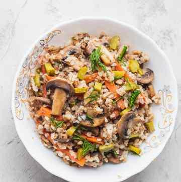 Mushroom buckwheat porridge bowl vegan