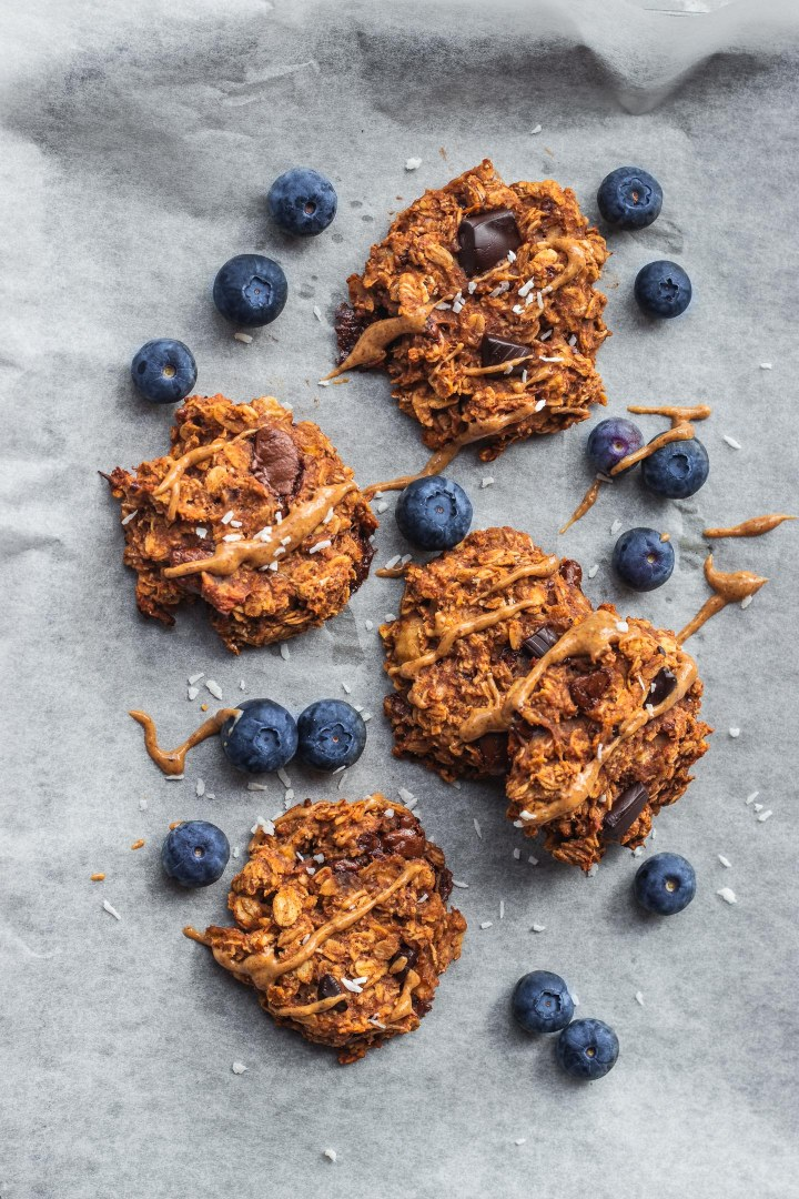 Banana oatmeal cookies on a baking tray