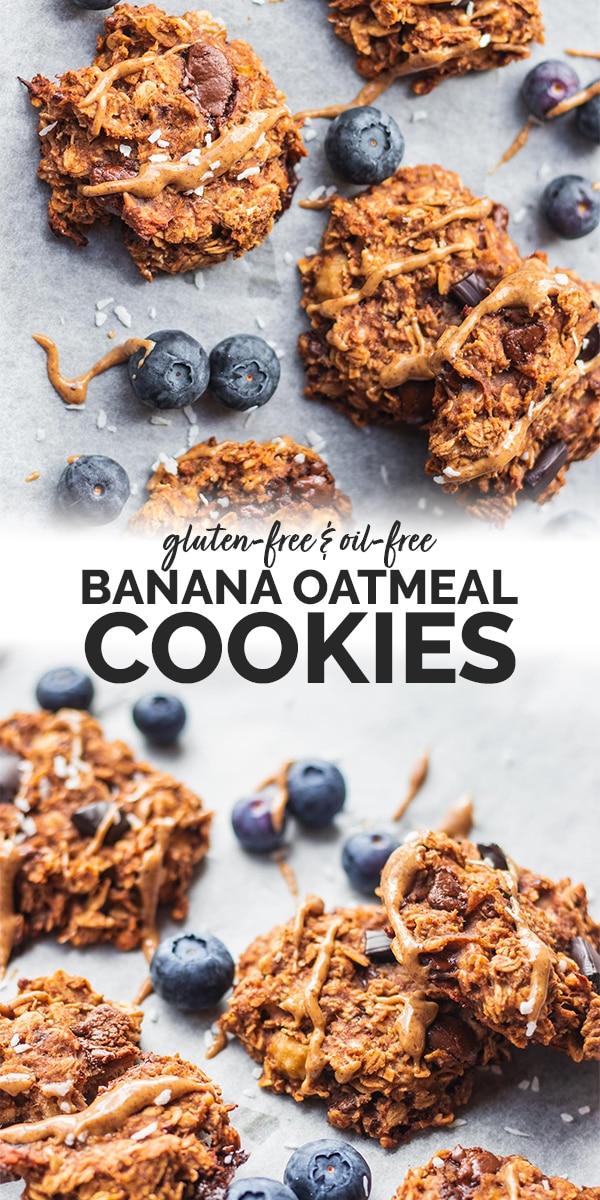 Vegan banana oatmeal cookies gluten-free Pinterest