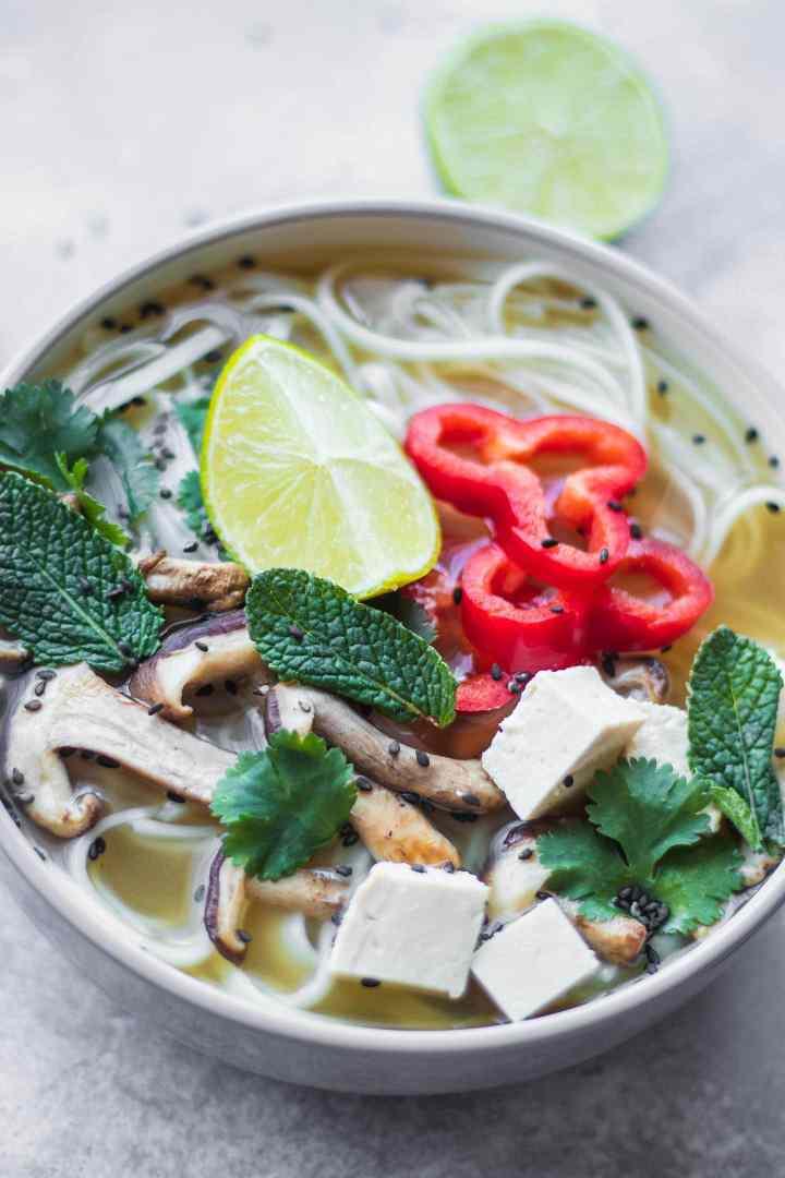 Vegan soup with shiitake mushrooms and tofu