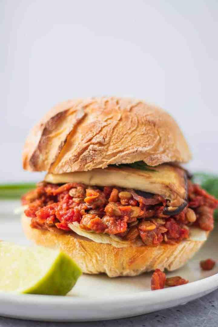 Closeup of sloppy joe burger