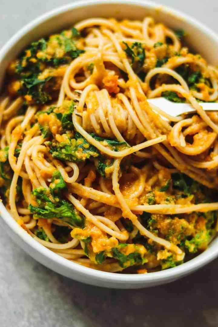 Vegan pasta on a fork