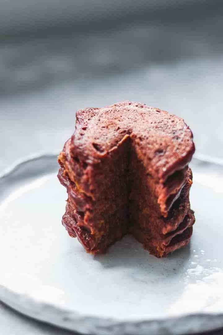 Stack of vegan chocolate pancakes