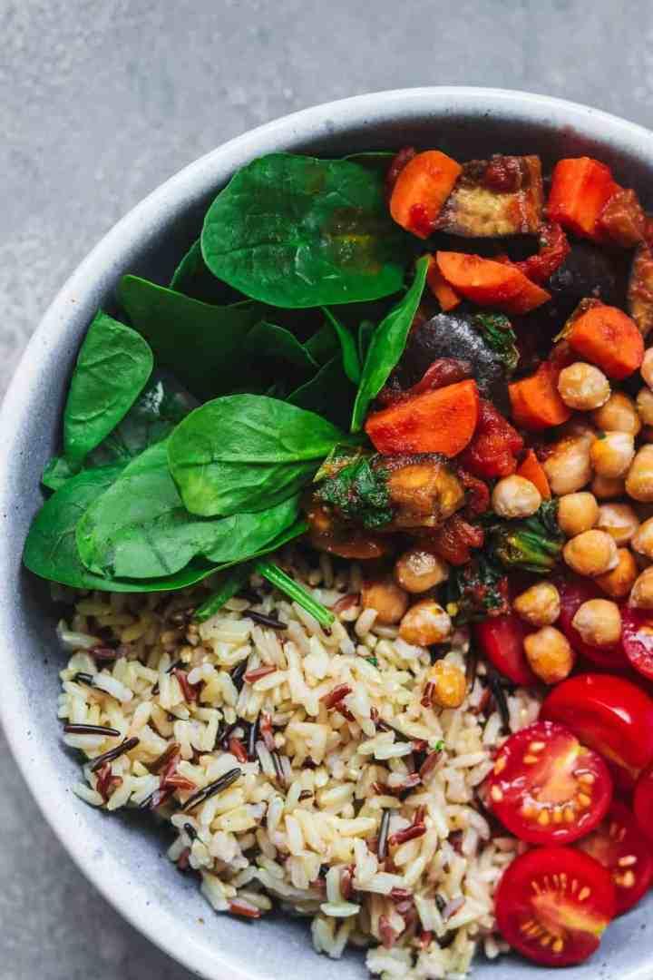 Closeup of vegan chickpea bowl