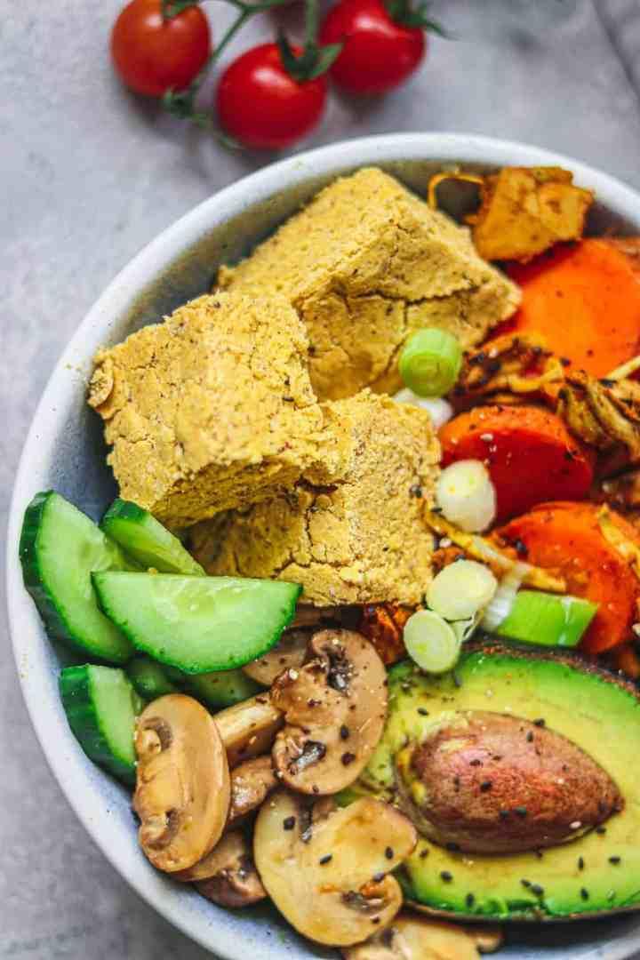 Closeup of vegan bowl with vegetables