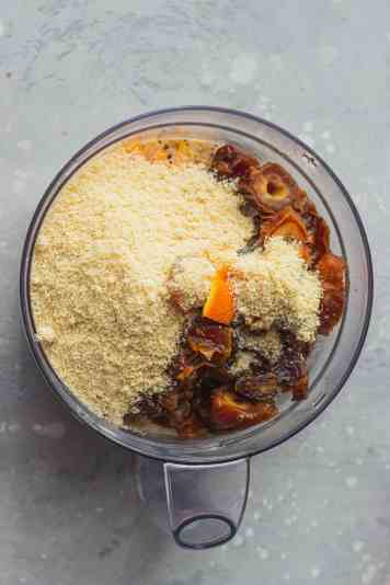 Vegan Christmas pudding ingredients in a food processor