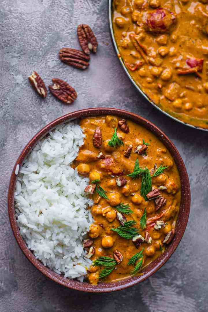 Bowl of vegan chickpea curry with rice