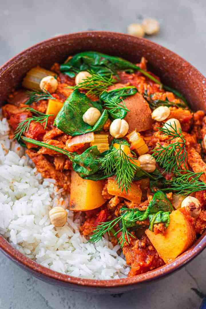 Veggie goulash in a bowl with rice