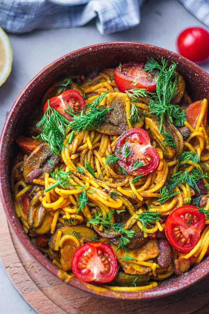 Vegan kidney bean one pot pasta recipe